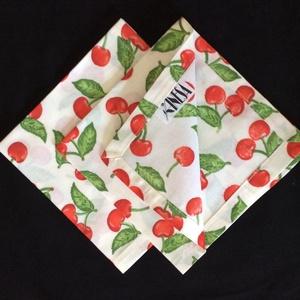 Szalvéta cseresznye mintával / Zero Waste, Otthon & Lakás, Konyhafelszerelés, Szalvéta, Kettő darabos szett.  Használj papír szalveta helyet , textil szalvétát , kímélet a környezeteket . ..., Meska