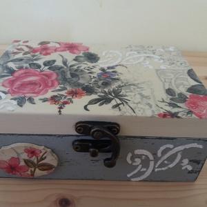 Virágos doboz, Otthon & lakás, Lakberendezés, Tárolóeszköz, Doboz, Láda, Fa doboz virág mintával,  kopottas stílusban szalvétatechnikával készítettem, akril festékek felhasz..., Meska