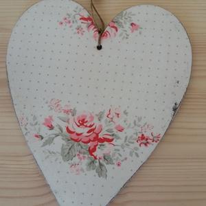 Dekorációs szív, Otthon & lakás, Dekoráció, Dísz, Lakberendezés, Falikép, A képen látható kétoldalú dekorációs szív kopottas stílusban decoupage technikával készítettem, szal..., Meska