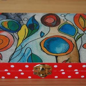 Vidám színes virág doboz, Otthon & lakás, Lakberendezés, Tárolóeszköz, Doboz, Láda, Fa doboz virág mintával decoupage technikával készítettem, szalvéta, akril festékek felhasználásával..., Meska