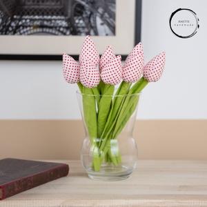 Textil tulipán fehér/piros, Csokor & Virágdísz, Dekoráció, Otthon & Lakás, Varrás, A textil tulipán nappalink egyik legszebb dísze lehet. Tökéletes ajándékba ( anyák napja, szülinap, ..., Meska