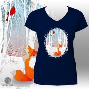 Nyomtatott mintás póló: Róka és pinty (sötétkék - NAVY) (AngelEve) - Meska.hu