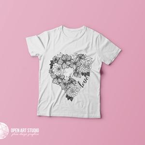 Színezhető póló fekete-fehér mintával - Flower Power (AngelEve) - Meska.hu