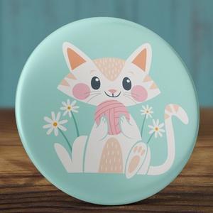Cica kitűző - cicás bross- fonalas kitűző - macska bross - macskás kitűző - virágos kitűző (AngelPin) - Meska.hu