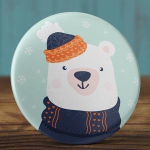 Karácsonyi kitűző - Jegesmedve bross - karácsony kitűző - jegesmedve kitűző - karácsony ajándék - tél bross (AngelPin) - Meska.hu