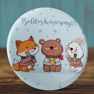 Karácsonyi kitűző - téli állatok kitűző - karácsonyi állatok bross - tél kitűző - róka - medve - nyuszi - sál (AngelPin) - Meska.hu