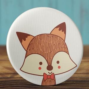 Róka kitűző - cuki rókás bross - sárga róka kitűző - állatos kitűző - vadállat - masnis róka kitűző - bross - állat (AngelPin) - Meska.hu