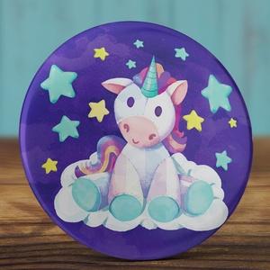 Unikornis kitűző - plüss unikornis bross - unicorn kitűző - játék kitűző - cuki ajándék - csillag - felhő - ló - plüss (AngelPin) - Meska.hu