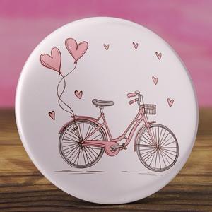 Rózsaszín bicikli kitűző -  bicikli bross - vintage kitűző - szivecske kitűző - vintage ajándék - szív - kerékpár  (AngelPin) - Meska.hu