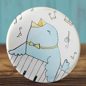 Boldog új évet kitűző -  2018 bross - madár kitűző -  zongora kitűző - ünnepi ajándék - újév - állat - szilveszter buli (AngelPin) - Meska.hu
