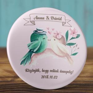 Madaras esküvői köszönet ajándék hűtőmágnes - köszönő ajándék - esküvő - mágnes - esküvői ajándék - vintage esküvő  (AngelPin) - Meska.hu