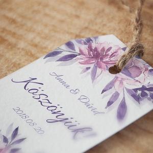 Esküvői köszönőkártya - virágos köszönőkártya - kísérőkártya - köszönöm- ajándékkártya - ajándékkísérő - lila - esküvő (AngelPin) - Meska.hu