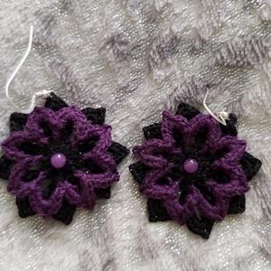Dark violet-horgolt fülbevaló (angica8) - Meska.hu