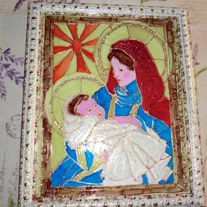 szüzmária jézusal üvegfestés, Karácsony, Ünnepi dekoráció, Dekoráció, Otthon & lakás, Képzőművészet, Egyéb, Vallási tárgyak, Festészet, Üvegművészet, SzŰz Mária jézusal,nagyon szép üvegfestés technikával készült,kitünö ajándék a szeretteinek......, Meska