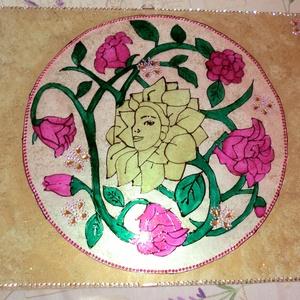 rózsák üvegfestés, Dekoráció, Otthon & lakás, Kép, Képzőművészet, Vegyes technika, Üvegművészet, Festészet, rózsák üvegfestéssel készült,30x40-es méretre falra akasztható,nagyon szépen mutat elöszobába,nappal..., Meska