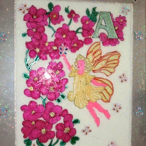 angyalka virággal gyerekszobába, Dekoráció, Otthon & lakás, Kép, Gyerek & játék, Gyerekszoba, Üvegművészet, Festészet, Üvegfestéssel készült 40x50-es festett kép angyalka virággal...\nLepje meg gyermekét aranyos kis képp..., Meska