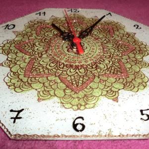 mandala óra, Otthon & Lakás, Falióra & óra, Dekoráció, Akrilfestékkel üvegre festett mandala óra ,22 cm-es,kipróbált, jól müködö,diszdobozban szállitva......, Meska