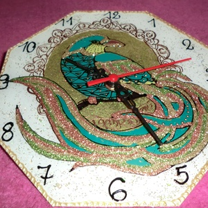 madaras óra, Dekoráció, Otthon & lakás, Lakberendezés, Falióra, óra, Képzőművészet, Festészet, Üvegművészet, 22 cm-es,nagyon szép madaras óra,üveglapra,üvegfestés technikával készült,\nnévnapra,szülinapra,diszd..., Meska