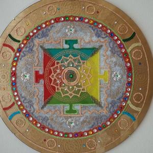tibeti mandala, Dekoráció, Otthon & lakás, Képzőművészet, Lakberendezés, Falikép, Festészet, Üvegművészet, 50 cm-es tibeti mandala,nagyon szép lakás dekoráció,akár masszázs szalonba,üzletbe ajánlom......, Meska