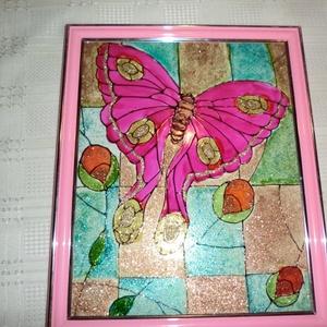 Pillangós Tiffanykép, Dekoráció, Otthon & lakás, Kép, Lakberendezés, Képzőművészet, Festészet, Üvegművészet, Pillangós Tiffanyképet ajánlom nappaliba,aki szereti a vidám természeti képeket.\nA kép mérete 23 cm ..., Meska