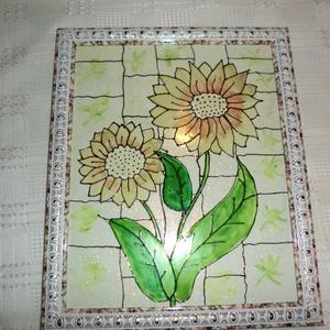 Tiffany mintás virágkép, Otthon & Lakás, Kép & Falikép, Dekoráció, Ajánlom képemet nappaliba,akik szeretik a természet csodáit viszont látni a lakásukba... A kép méret..., Meska