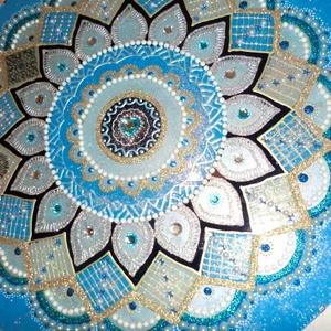 Kékcsoda mandala, Otthon & Lakás, Mandala, Dekoráció, 50 cm-es üveglapra festett mandalát ajándékozza esküvőre,nyugdijas bucsúztatóra,nagyon szép különleg..., Meska