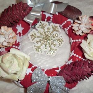 karácsonyi ajtódisz, Karácsony & Mikulás, Karácsonyi kopogtató, 20 cm-es karácsonyi kopogtató,szép piros szinben,azonnal vihető.., Meska