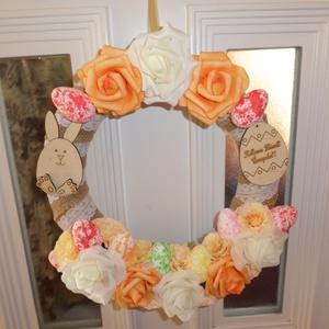 Tavaszias húsvéti ajtókopogtató..., Húsvéti díszek, Ünnepi dekoráció, Dekoráció, Otthon & lakás, Lakberendezés, Ajtódísz, kopogtató, Kötés, Virágkötés, 28 cm-es szalmakoszorúra,ragasztott,nagyon szép selyemvirágokkal diszitve,nagyon szép dekorációja le..., Meska