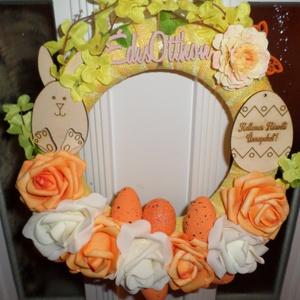 Tavaszias húsvéti kopogtató, Húsvéti díszek, Ünnepi dekoráció, Dekoráció, Otthon & lakás, Lakberendezés, Ajtódísz, kopogtató, Virágkötés, Mindenmás, 28 cm-es húsvéti koszorúval diszitsed otthonodat,tedd még ünnepélyessé a házadat..., Meska