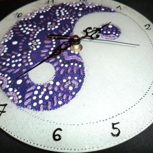 mandalás óra, Otthon & Lakás, Falióra & óra, Dekoráció, Szeretettel ajánlom  ying-yang mandalás órámat...Ajándékba,vagy saját részre,egyensúlyba hozza a dol..., Meska
