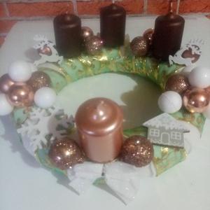 Adventi koszorú , Otthon & Lakás, Dekoráció, Szeretettel ajánlom karácsonyi ünnepi asztalra 25 cm-es koszorút. , Meska