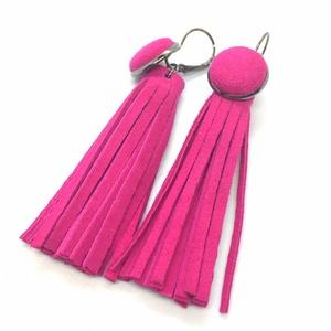 Pink valódi bőr fülbevaló Rojtos, francia kapcsos, Ékszer, Fülbevaló, Bőrművesség, Ékszerkészítés, A fülbevaló saját ötlet, elgondolás alapján készült. Stílusa, színe egyedi megjelenést ad viselőjéne..., Meska