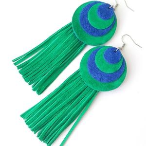 Extra kör, rojtos velúrbőr fülbevaló, kék-zöld, Ékszer, Fülbevaló, Bőrművesség, Ékszerkészítés, A fülbevaló saját tervezéssel, kivitelezéssel készült.\nSzíne: kék, zöld\nAnyaga: valódi olasz velúrbő..., Meska