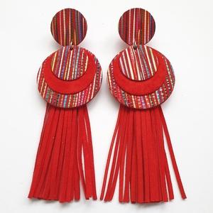 Bedugós bőr fülbevaló, rojtos, csíkos, Ékszer, Fülbevaló, Bőrművesség, Ékszerkészítés, A fülbevaló saját tervezéssel, kivitelezéssel készült. \nSzíne: piros, csíkos, színes\nAnyaga: piros v..., Meska