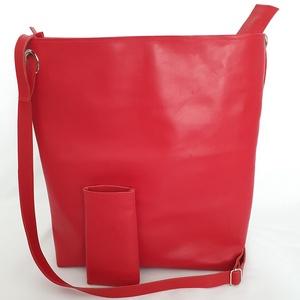 Cseresznyepiros Valódi bőr táska, nagy, pakolós ajándék mobiltokkal