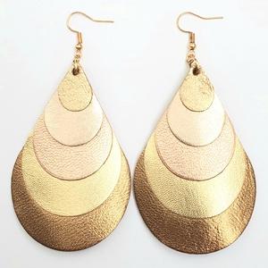 Rosegold-bronz-arany árnyalatok fényes Bőr fülbevaló, nagy csepp - Meska.hu