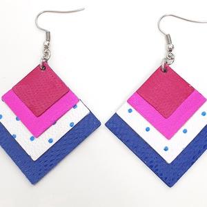 Pink, fukszia kékkel, négyzet bőr fülbevaló, Ékszer, Fülbevaló, Lógó fülbevaló, Bőrművesség, Ékszerkészítés, Valamennyi termék saját ötlet, elgondolás, kivitelezés alapján készül.\nEgyedi!\nMéretek: 3,8 x 3,8 cm..., Meska