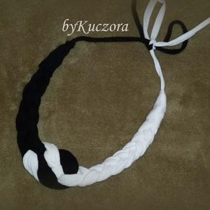 -20% AKCIÓ Textil nyaklánc, nyakék - fekete fehér (angyalifeny) - Meska.hu