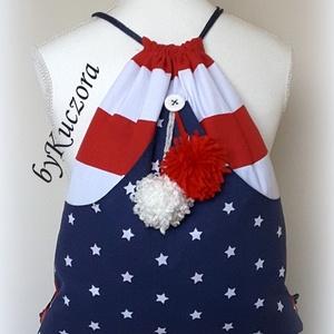 Amerika hátizsák, tornazsák - USA zászló, Gymbag, Hátizsák, Táska & Tok, Varrás, Újrahasznosított alapanyagból készült termékek, Piros, kék, fehér színű anyagokból az USA zászlóját alkottam meg hátizsákként, tornazsákként.\nVidám ..., Meska
