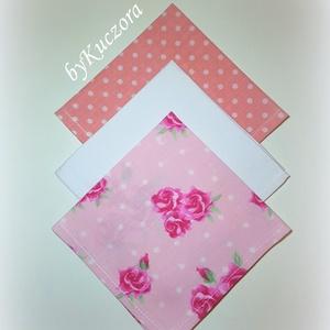 Textil zsebkendő szett, öko zsebkendő szett -  rózsaszín, fehér (angyalifeny) - Meska.hu