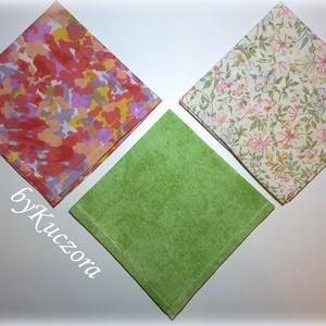 Textil zsebkendő szett, öko zsebkendő szett -  zöld, rózsaszín (angyalifeny) - Meska.hu