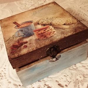 Téli nosztalgikus dobozka, Otthon & lakás, Lakberendezés, Tárolóeszköz, Doboz, Decoupage, transzfer és szalvétatechnika, Mindenmás, \nDecoupage technikával készült, vizes bázisú lakkal duplán védett.\nÉn hasonló dobozokban tárolok min..., Meska