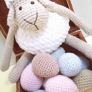 Puha Barika, Játék & Gyerek, Plüssállat & Játékfigura, Kb 20 cm nagyságú ez a pihe-puha fonalból készült édes kis bárányka.  Antiallergén töltőanyaggal van..., Meska