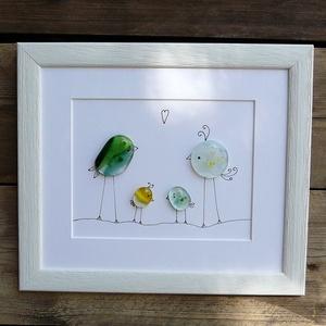 """Üvegbe zárt szeretet - Család1 , Otthon & lakás, Karácsony, Karácsonyi dekoráció, Lakberendezés, Képkeret, tükör, Üvegművészet, A család \""""üvegbe olvasztva\"""". Prémium minőségű üvegből, fusing (olvasztás) technikával készítettem. K..., Meska"""