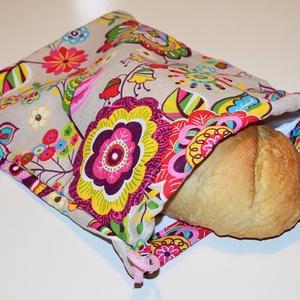 Frissentaró kenyeres, pékárus zsák, színes virágos, Otthon & Lakás, Konyhafelszerelés, Kenyértartó, Varrás, Frissentaró kenyeres, pékárus zsák, színes virágos\nA zsák külső rétege pamutvászon, belső rétege pul..., Meska