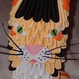 Garfield cica, Dekoráció, Otthon & lakás, Dísz, Papírművészet, 3d origami technikával ( több száz pici papírelem egymásba építése általában ragasztás nélkül) készí..., Meska