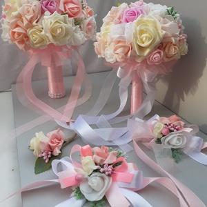 Mennyasszonyi Szett, Esküvő, Esküvői szett, Virágkötés, Mindenmás, Esküvői dekoráció: örök csokor, dobó csokor, csuklódísz, kitűző és szülőköszöntő virágbox - különböz..., Meska