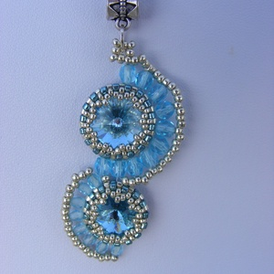 Hullámtaréj - kék - ezüst swarovskis gyöngy medál, Ékszer, Medál, Nyaklánc, Gyöngyfűzés, gyöngyhímzés, Ékszerkészítés, Meska