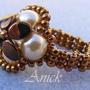 Bronz virág - bronz, bézs gyöngygyűrű, Ékszer, Gyöngyös gyűrű, Gyűrű, Ékszerkészítés, Gyöngyfűzés, gyöngyhímzés, Meska