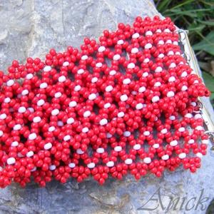 Kedves Pettyes - piros- fehér gyöngykarkötő, Ékszer, Karkötő, Ékszerkészítés, Gyöngyfűzés, gyöngyhímzés, Meska